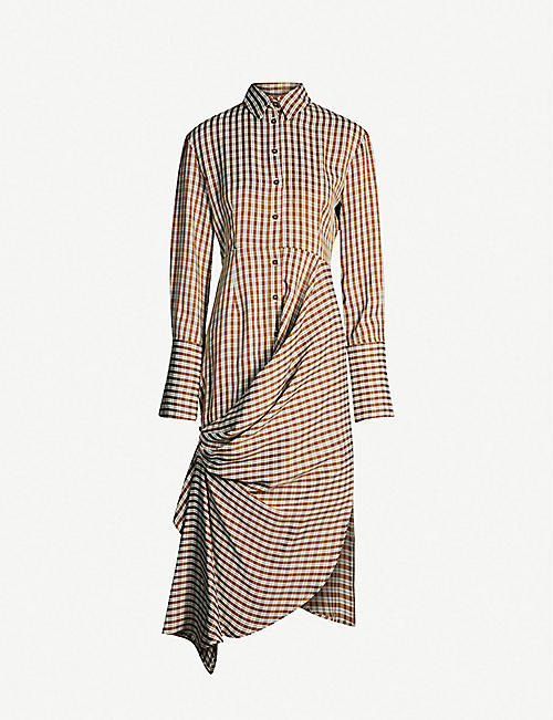 11007ba409 TOPSHOP Boutique asymmetric ruched-front checked crepe dress