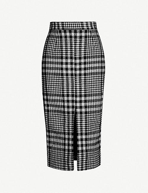 1abcc5c76 TOPSHOP Boutique houndstooth front-split wool and cashmere-blend skirt