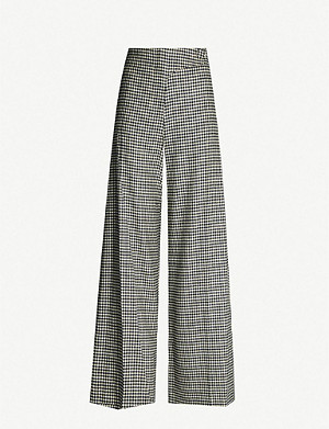 TOPSHOP Houndstooth-patterned wide-leg wool trousers