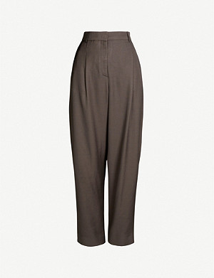 TOPSHOP Boutique high-rise wide crepe trousers