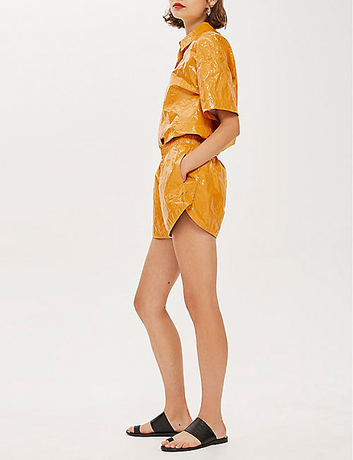 TOPSHOP Boutique paper-effect patent shorts