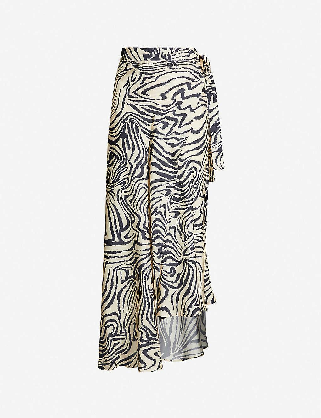 new design great deals on fashion latest style of 2019 Boutique zebra-print silk-satin skirt