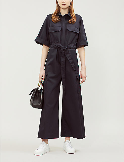 0c755337da3 TOPSHOP Boutique wide-leg cotton-poplin jumpsuit