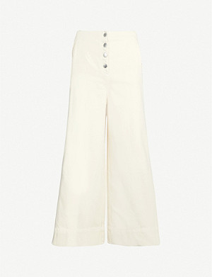 TOPSHOP Boutique cropped wide-leg high-rise jeans