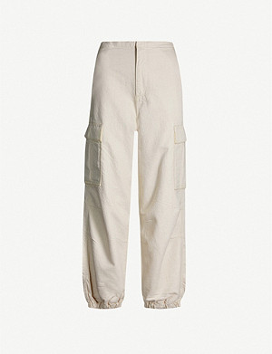 TOPSHOP Boutique high-rise wide cotton and linen-blend trousers