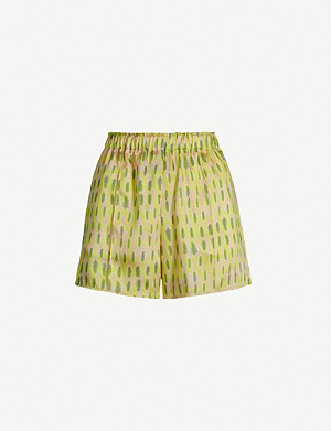 TOPSHOP Boutique graphic-print satin runner shorts