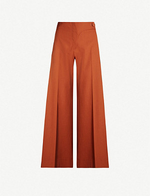 TOPSHOP Boutique Fluid Wide Led wool trousers