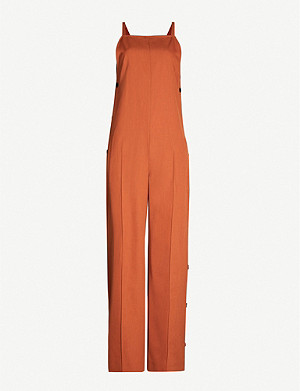 TOPSHOP Popper-side wide-leg wool jumpsuit