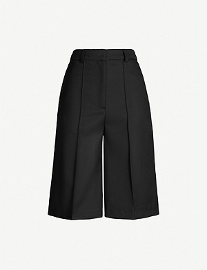 TOPSHOP Boutique wide high-rise wool-twill shorts