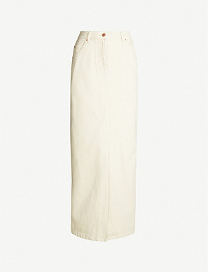 TOPSHOP Boutique high-waist denim maxi skirt