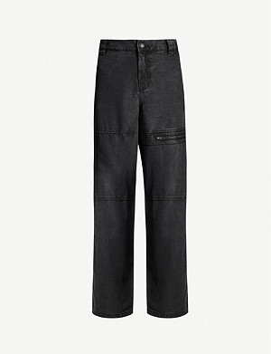 TOPSHOP Boutique faded high-rise straight stretch-twill trousers