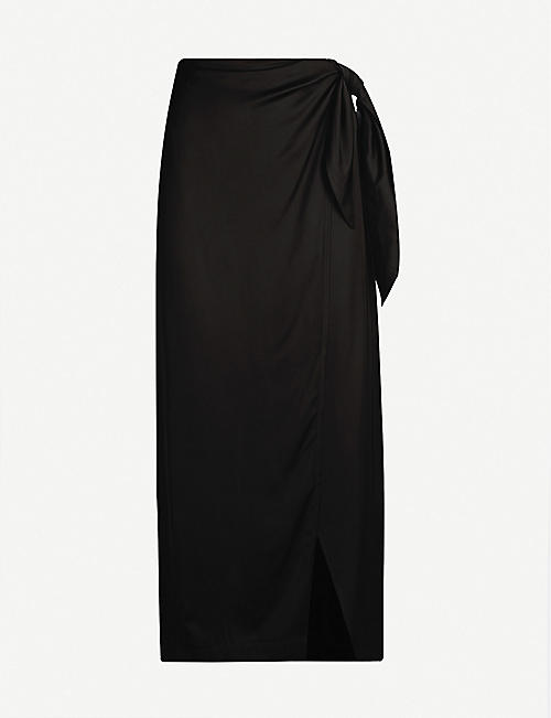 432c1955dff1 TOPSHOP Boutique high-waist satin wrapover midi skirt