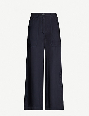 TOPSHOP Patch-pocket flared woven trousers