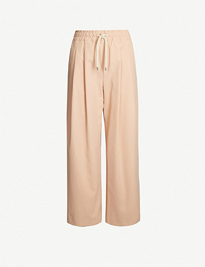 TOPSHOP Boutique Carrot wide-leg cotton-twill trousers