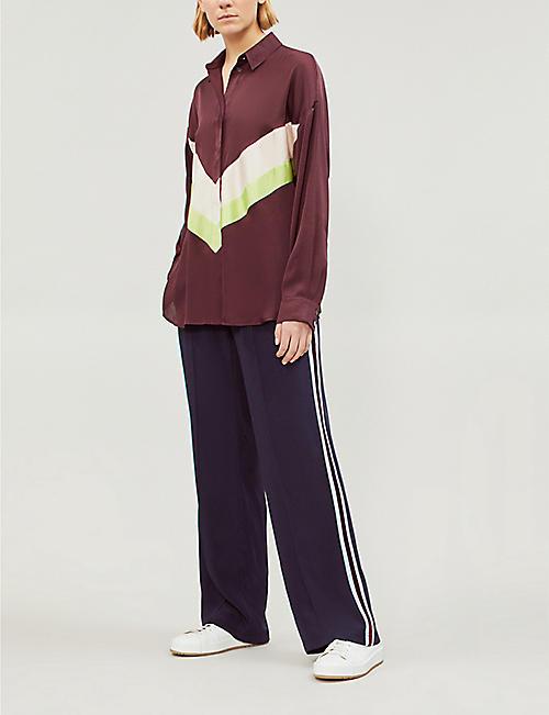 TOPSHOP Boutique contrast colour-block panel satin and crepe shirt