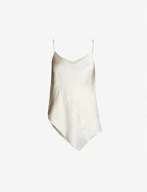 TOPSHOP Boutique Spiral angular-hem silk-satin cami top