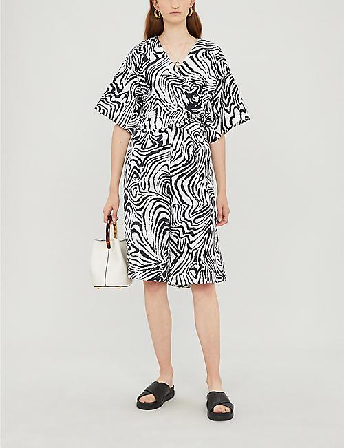 TOPSHOP Boutique zebra-print cotton wrap top