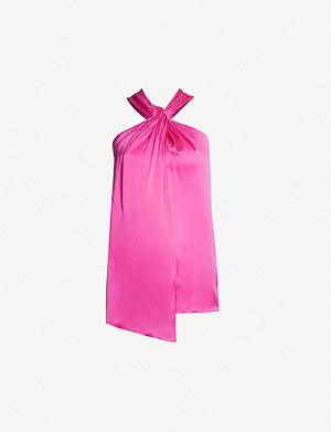 TOPSHOP Boutique tie-knot silk top