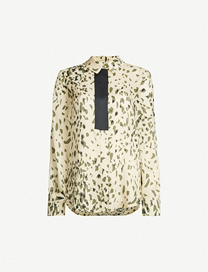 TOPSHOP Abstract-print loose-fit satin top