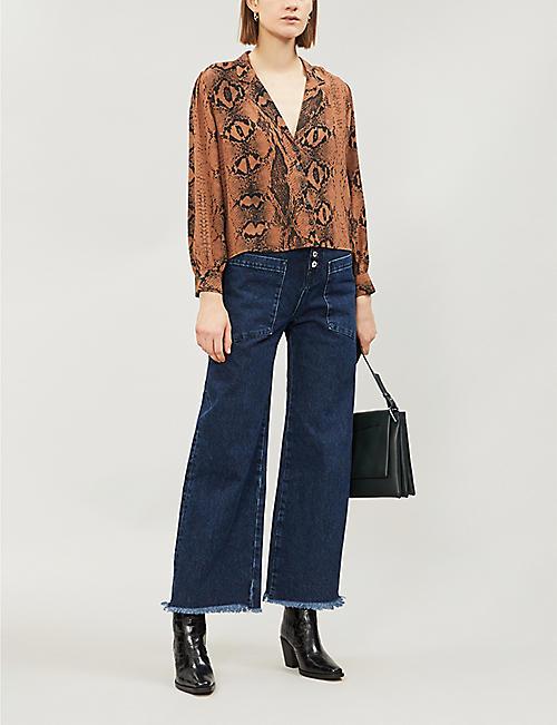 TOPSHOP Petite Jessica snakeskin-print crepe shirt