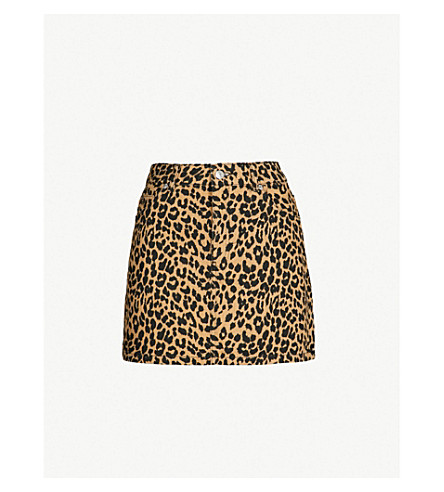 b91fb61bcd TOPSHOP - Petite Leo leopard-print denim mini skirt   Selfridges.com