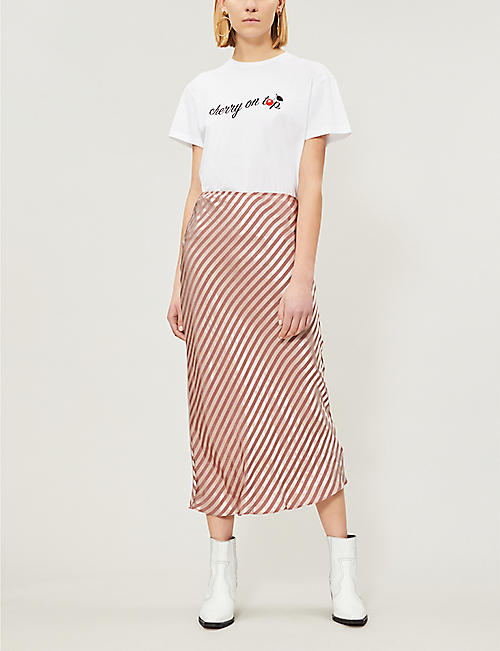 25a687f89 TOPSHOP Petite high-waist striped satin-jacquard midi skirt
