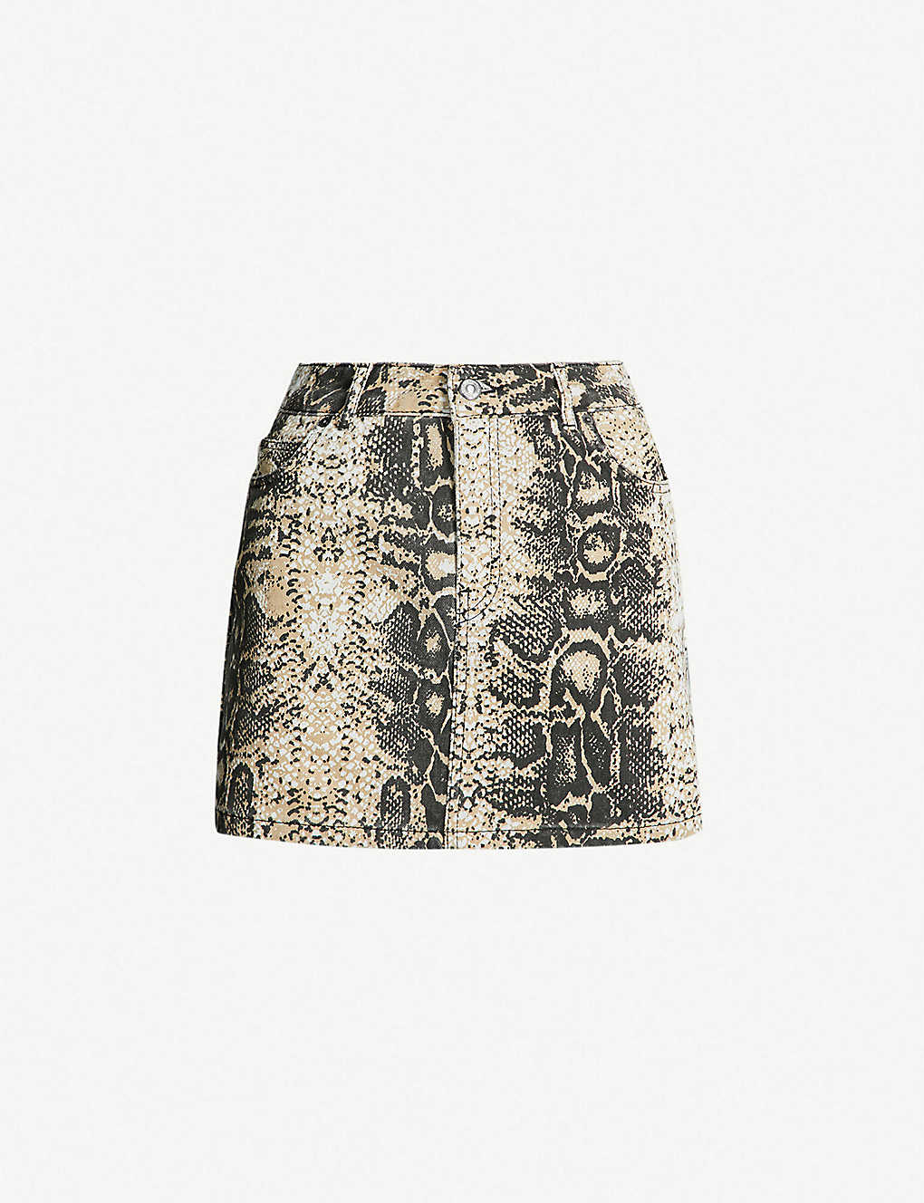 f6d3d6aee096 TOPSHOP - Petite snakeskin-print denim mini skirt   Selfridges.com