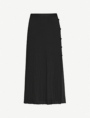 TOPSHOP Pleated crepe midi skirt