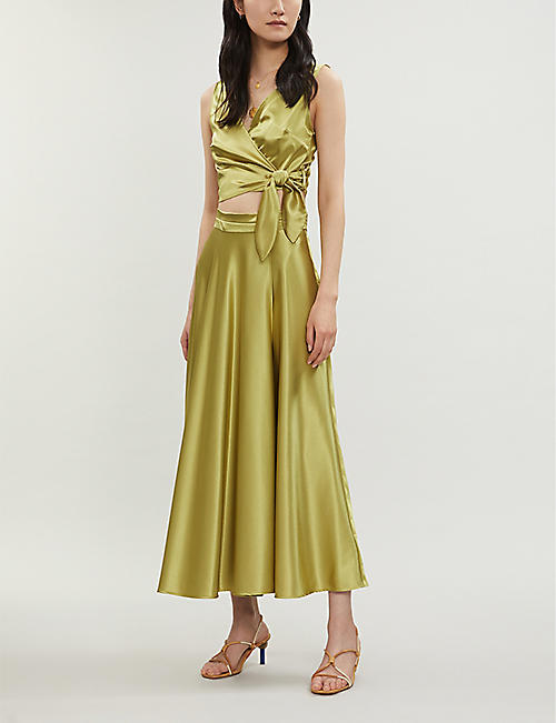 TOPSHOP Flared satin wrap-over skirt