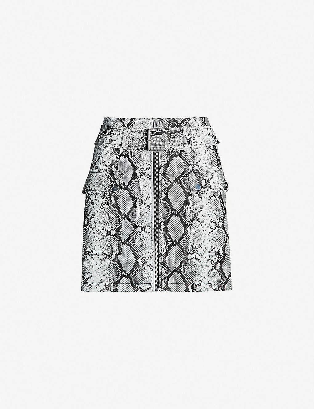 acc557537 TOPSHOP - Petite snake-print faux-leather mini skirt | Selfridges.com