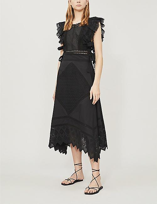 ac3019188171 TOPSHOP Broderie anglaise asymmetric cotton skirt