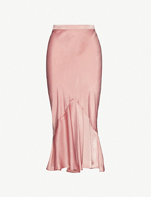 TOPSHOP Flared-panel satin midi skirt