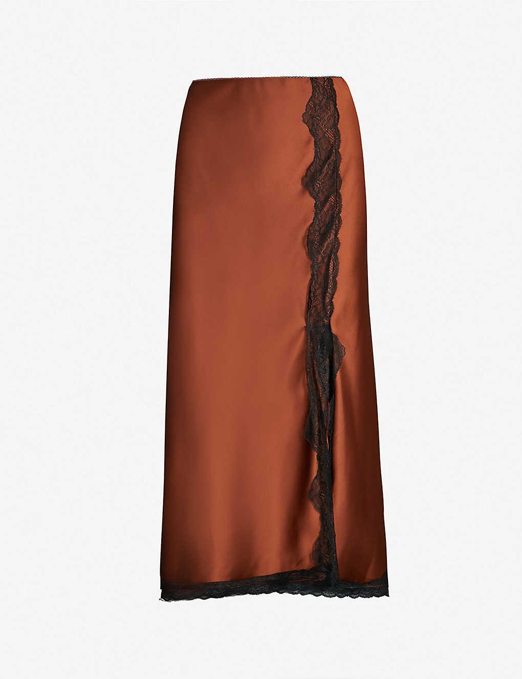 b0cdb306cee2 TOPSHOP - Lace-trimmed bias-cut satin skirt   Selfridges.com