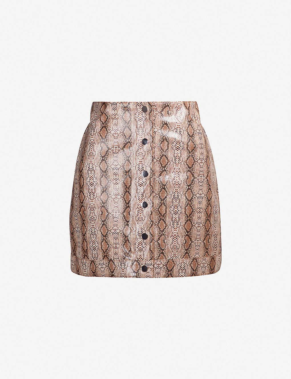 c97489570 TOPSHOP - Dixie snake-embossed faux-leather mini skirt | Selfridges.com
