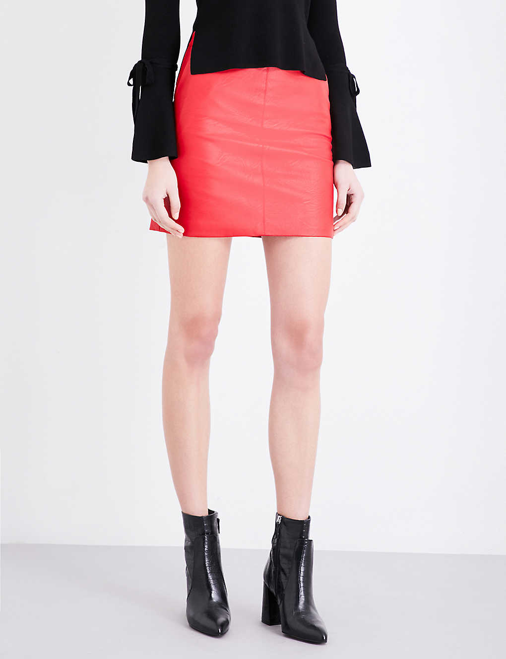 f38e42261 TOPSHOP - Super high-waist faux-leather skirt | Selfridges.com