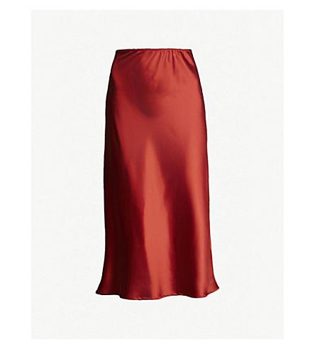 8c8b3eda2a Chocolate Topshop Satin Bias Cut Midi Skirt Skirts Women's Clothing