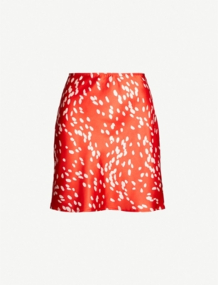 TOPSHOP Dot-print satin skirt