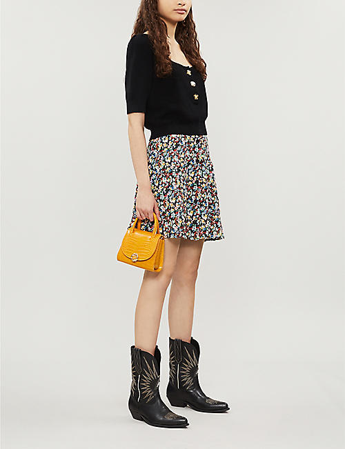 TOPSHOP Ditsy button-front floral crepe mini skirt