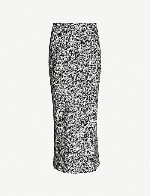 TOPSHOP Spotted bias-cut satin midi skirt 086bdbd10