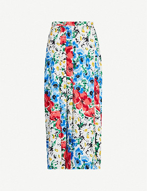 TOPSHOP Graphic floral-print woven skirt