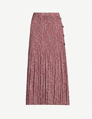 TOPSHOP Graphic-print woven skirt