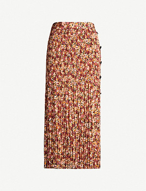 TOPSHOP Button-detail pleated floral-print crepe midi skirt