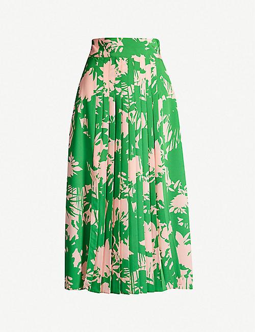 36b41e9c0f3 TOPSHOP Graphic floral-print pleated crepe midi skirt