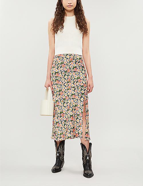 3a211503fde0 TOPSHOP Daisy floral-print bias-cut satin skirt