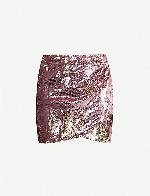 5985b157e1 TOPSHOP Petite draped-front sequinned skirt