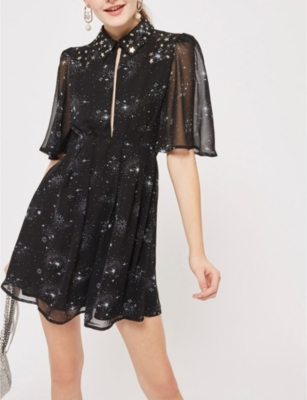 TOPSHOP Star-embroidered chiffon dress