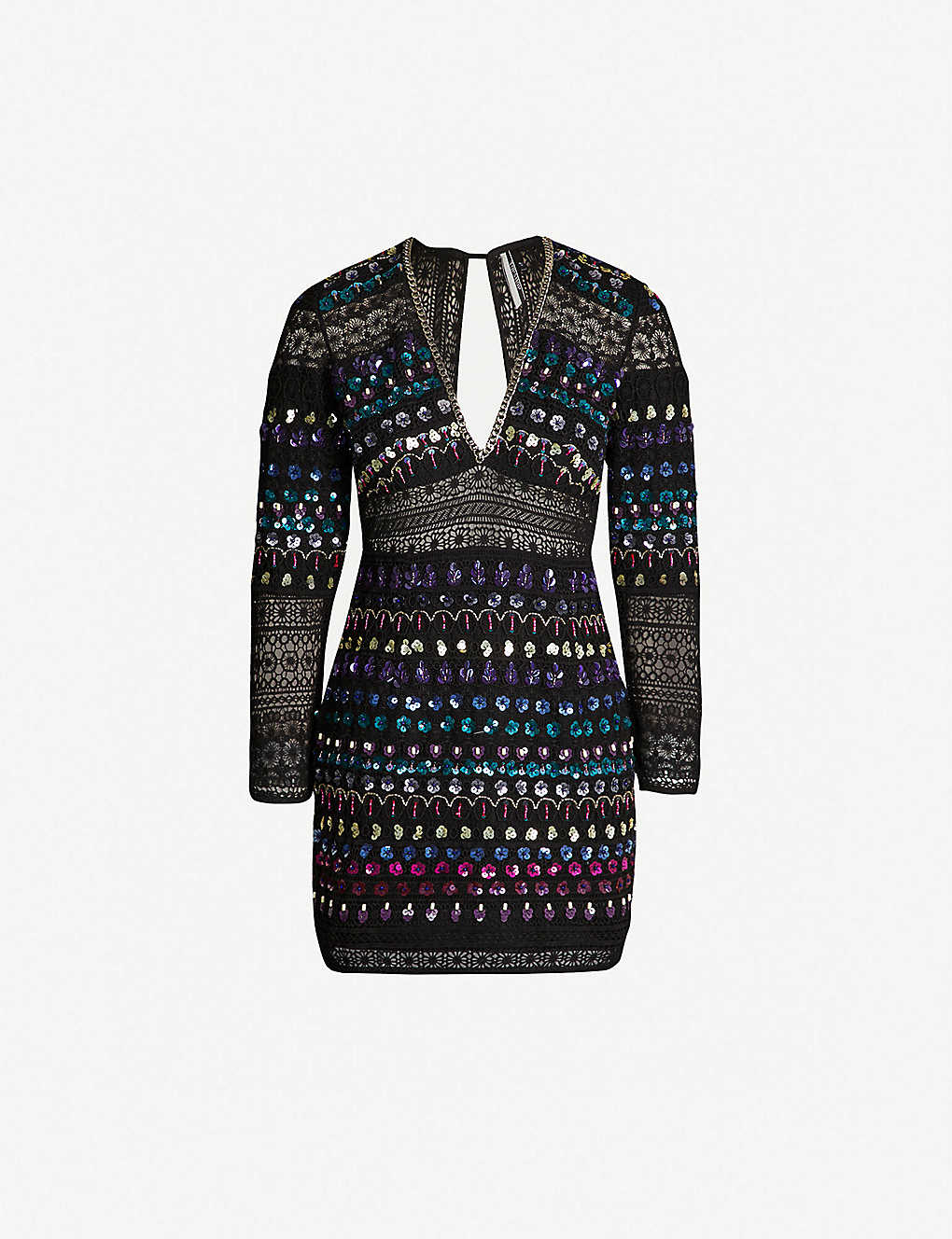 14a59fdc3dfc3 TOPSHOP - Boutique embellished lace insert chain drim mini dress |  Selfridges.com