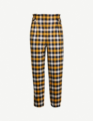 TOPSHOP Tara twill check trousers