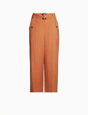 TOPSHOP Belted wide-leg cropped stretch-twill trousers