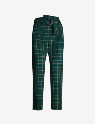 TOPSHOP Cropped high-rise checked woven tapered trousers